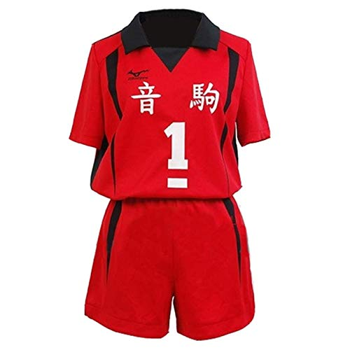 Haikyuu Nekoma High School Kenma Kozume Cosplay Disfraz de equipo, camiseta de uniforme Rojo2 M