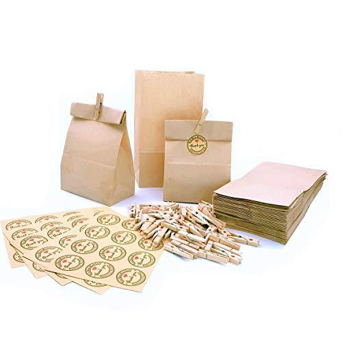 JZK papieren zakjes, 50 stuks, 21,5 x 12 x 7 cm, 50 x houten wasknijpers, 50 x Thank You'' stickers, cadeauzakje voor bruiloft, verjaardag, babyparty, Pasen, kinderfeestje