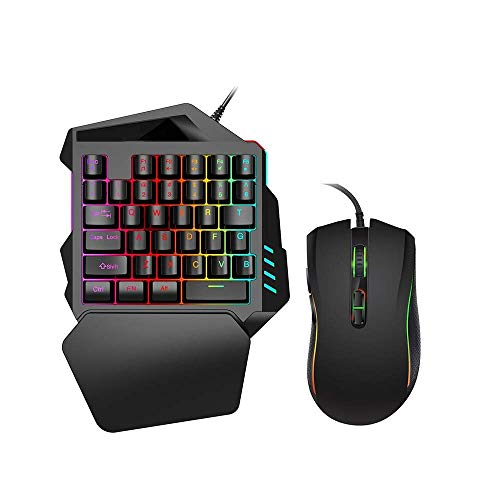 xinyawl One-hand mechanical gaming keyboard RGB LED backlight, 35-key half keyboard, ergonomics, wrist rest, USB cable, color mouse, suitable for Fps games/APEX/CSGO/notebook/PUBG Mac/Windows (black)