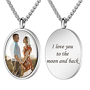Fanery Sue Personalized Photo Cremation Urn Necklace for Ashes Custom Engraving Pendant Memorial Keepsake Jewelry with Filling Tool(Oval-Silver)