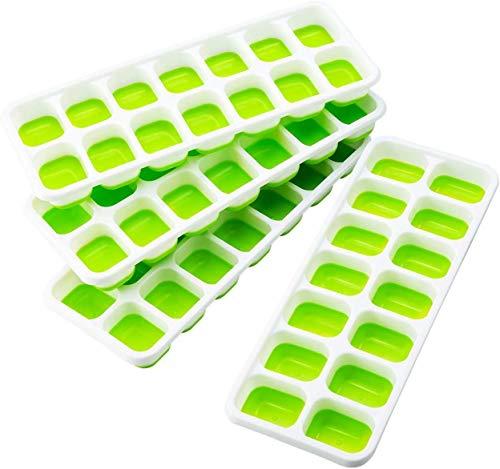 TOPELEK 14-Fach Eiswürfelform 4er Pack Silikon Eiswuerfel Mit Deckel Ice Tray Ice Cube, Kühl Aufbewahren, LFGB Zertifiziert BPA Frei, Grün (4er Pack)