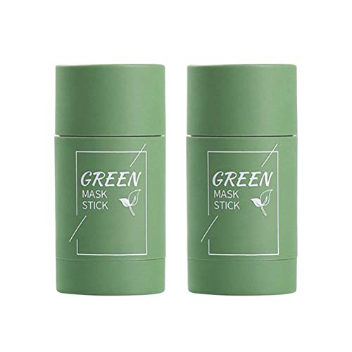 2 Stück Grüner Tee Mask, Purifying Clay Stick Gesichtsmaske, Stick Deep Cleansing Ölkontrolle, Fine Solid Mask Green Tea, Portable Cleansing Mask, Akne Cleansing Solid Mask Green Tea