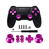 TOMSIN Metal Buttons for DualShock 4, Aluminum Metal Thumbsticks Analog Grip & Bullet Buttons & D-pad for PS4 Controller (Metal Pink)