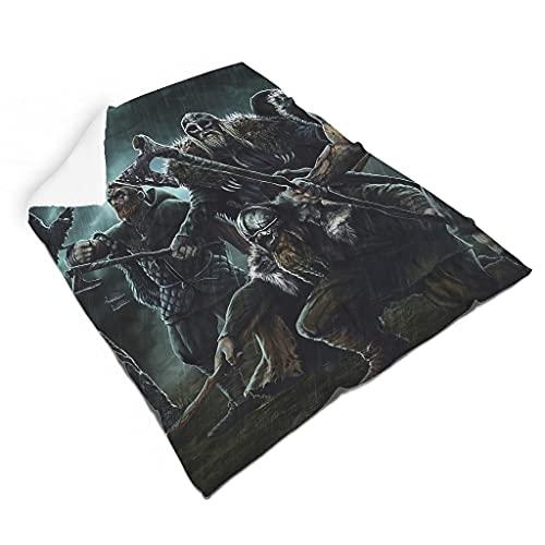 Hothotvery Manta de peluche vikingo, guerrero, ejes, cuervos, estampado de pelo, cálida manta de sofá para jóvenes, color blanco, 140 x 180 cm