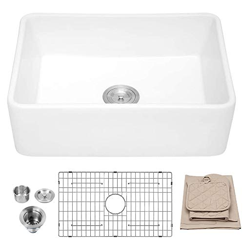 White Farmhouse Sink - Lordear 30 inch Kitchen Sink Apron-front White Fireclay Ceramic Porcelain Reversible Single Bowl Kitchen Farm Sinks