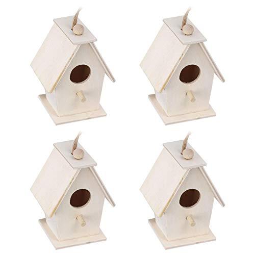 XiangXin Jaula para nidos de Madera de platane, Resistente a la Humedad, para pájaros, Suministro de pájaros, para Colgar, para pájaros, 4 Unidades para Loros