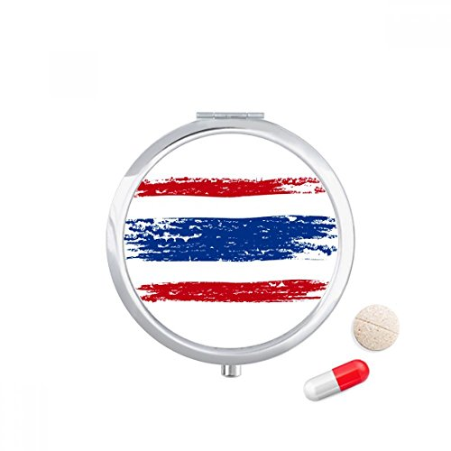 DIYthinker Aquarel Tekenen Thailand Vlag Illustratie Reizen Pocket Pill case Medicine Drug Storage Box Dispenser Mirror Gift