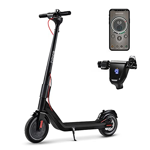 FIDICO Electric Scooter, 350W Brushless Motor 2-Model Speeds to 18.6 MPH,24 Miles Long-Range, 10 Inch Solid Tires Electric Scooter for Adults