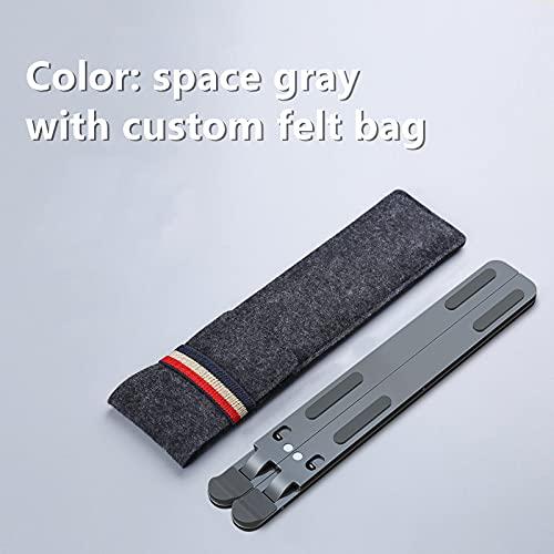 Estante de refrigeración plegable de 11 a 17 pulgadas, ángulo ajustable, aleación de aluminio, soporte portátil para oficina, universal, antideslizante, color gris profundo)