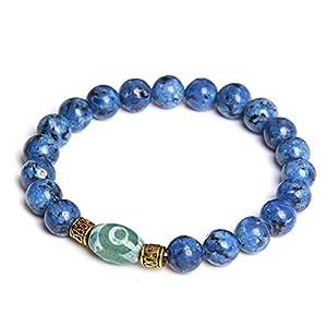 Natürliches Brasilien Kyanit Armband Paare Schmuck Poliert Blauer Stein Perlen Armreifen Männer Dzi Achate Legierung Charm Armband Frauen Geschenk