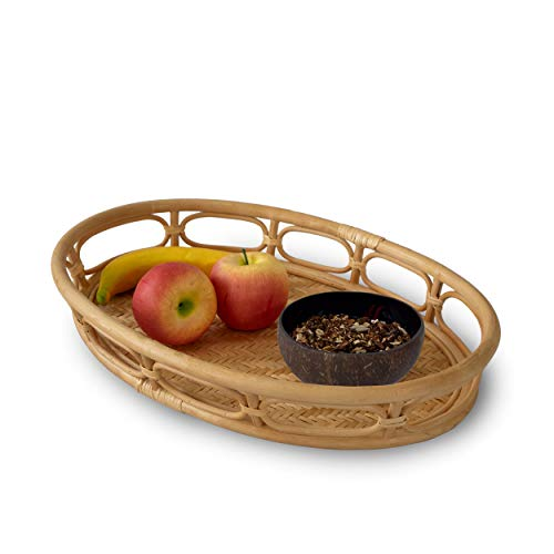 Oval Rattan Wicker Serving Trays with Handles Handcrafted Breakfast Food Dish Coffee Bread Serving Basket Trays for Dining Kitchen Bathroom Living room Home Decor165x10 Natural