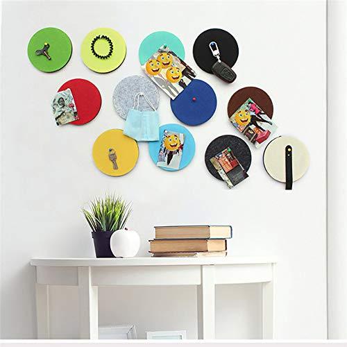 Vilt Circle Board Tegels Pin Board Zelfklevend - Kurk Board voor Foto's Memos Display Board of Felt Pads Wall Bulletin Board om Beelden Tekenen Doelpunten Opmerkingen Kleurrijke Schuim muur Decoratieve Tegels 4_pcs