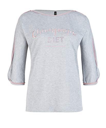 Chili Bang Bang   Hochwertiges Damen Sweatshirt in Grau mit Statement Stickerei, Glitzersteinen und Pom-Pom Band (XS/S)