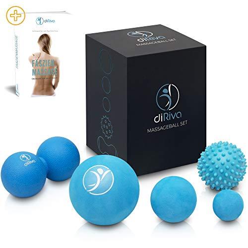 diRiva Faszien Ball  Set di 5 Pezzi in Diverse Dimensioni & Diversi Gradi di durezza  con e-Book  Premium Massaggio Ball Set per Il Punto Trigger della Terapia & Auto-Massaggio