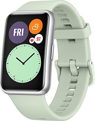 HUAWEI WATCH FIT Smartwatch, 1,64 Zoll AMOLED-Display, Quick-Workout-Animationen, 10 Tage Akkulaufzeit, 96 Trainingsmodi, GPS, 5ATM, SpO2-Sensor, Herzfrequenzmessung, Mint Green
