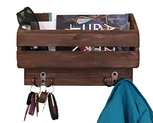 Autumn Alley Rustic Brown Wood Wall Mounted Entry Organizer with 4 Hooks | Key Rack | Mail Shelf | Adds Country Charm and Organization to Your Entry