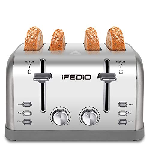 4 Slice Toaster, Bagel Defrost Cancel Function with Extra Wide Slot, 7 Shade Settings of Bread Toaster for Kitchen 1500W (Sliver)