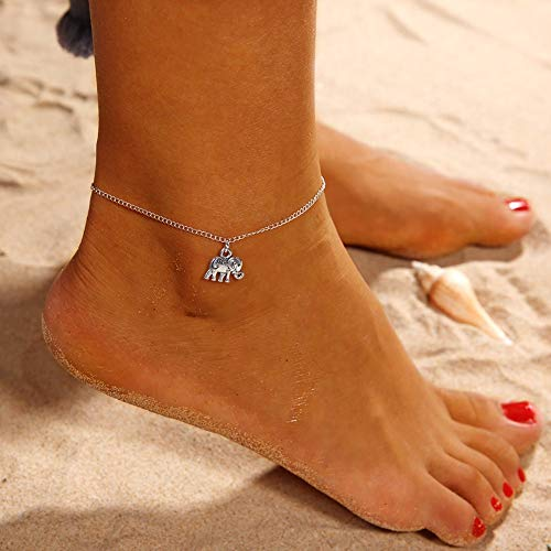 XIANGAI Elegant Women Elephant Pendant Anklet Ankle Bracelet Beach Sandals Barefoot Jewelry Gift Antique Silver,Colour:Antique Silver (Color : Antique Silver)