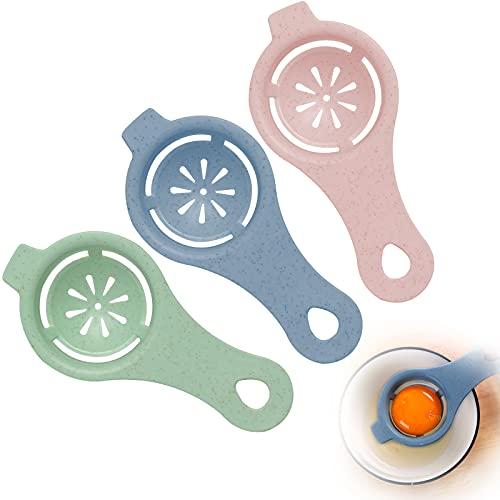 ITME 3 Pcs Separador de Yemas de Huevo Separador de Clara de Huevo Colador de Clara de Huevo Separador de Filtro Separador de Yema de Huevo Herramienta para Cocina para Hornear (Rosa / Azul / Cian)