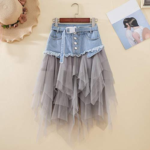 YSSDEH Sommer Jeans Rock Frauen Unregelmäßige Hoch Taillierte Plissee Denim Tüll Röcke Damen Mesh Patchwork Taschen Quaste Mid Calf