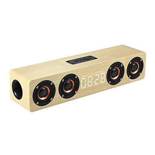 Altavoz Bluetooth con Reloj, Barra De Sonido De Altavoz BT De Madera con Pantalla Digital LED, Admite Entrada De Audio De 3,5 mm/Reproducción De Tarjeta De Memoria,Blanco