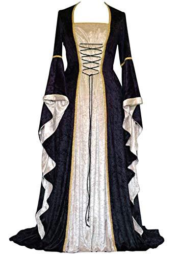 Geplaimir Disfraz medieval para mujer, de terciopelo, para Halloween, carnaval, bruja, vampiro, gtico, cosplay, G006BXXL