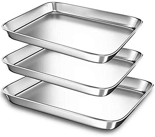 SCP Backblech Pfannen for Toaster, kleine Edelstahl-Plätzchen-Blech Bakeware Pan, Sturdy Schwer Rechteck Fach, 3 Stück/Set Backwerkzeuge