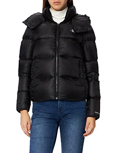 Calvin Klein Jeans Shiny Down Short Puffer Jacket Chaqueta Acolchada, CK Negro, M para Mujer