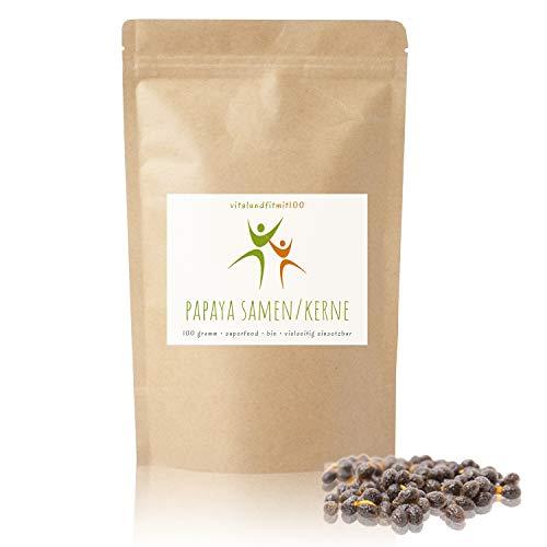 Bio Papaya Kerne/Samen - 100 g - natürlich schonend getrocknet - Papaya-Pfeffer ohne Zusatzstoffe - gluten- und laktosefreie Papaya-Samen - hoher Papain Gehalt - aromatisch - pfeffrig scharfes Aroma