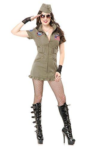 Charades Women's Tom Cat Seal Team Six Flight School Dress and Hat, Olive Green, X-Small