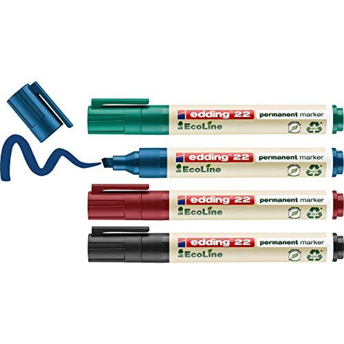 edding 22 Permanentmarker Set - schwarz, rot, blau, grün - 4 Stifte - Keil-Spitze 1-5 mm - schnell trocknend, wasserfest, wischfest - für Karton, Kunststoff, Holz, Metall - Universalmarker