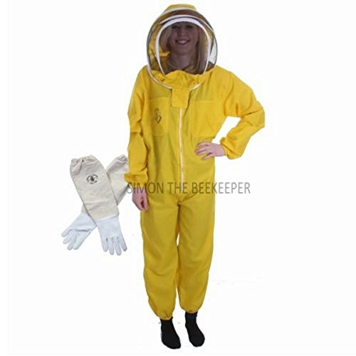 Buzz Basic Combinaison d'apiculteur avec voile et gants Jaune Taille L