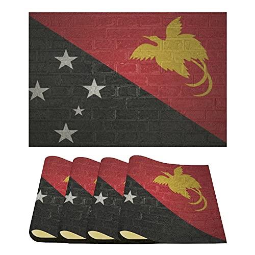 Tischsets Set von 4 Stück, Flagge von Papua, Neuguinea, Leinen Platzsets Pads für Zuhause, Küche, Esstisch/Partys/Urlaubsdekorationen, 31 x 44 cm