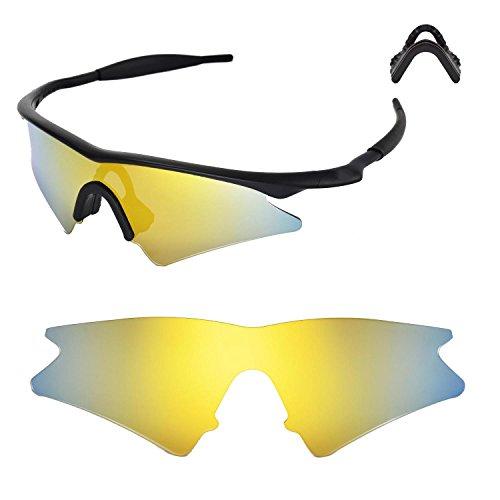 Walleva Ersatzgläser oder Linsen mit schwarzem Nasenpolster für Oakley M Frame Sweep – 40 Optionen verfügbar
