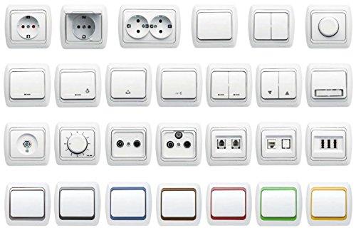 Interruptor serie UP, gama de interruptores todo en uno - marco + inserto empotrado + tapa - Serie T1, blanco puro