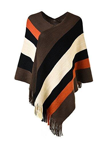 Ferand Poncho de Las Mujeres suéter de Punto de Diseño Envolvente con Flecos, Marrón &Negro