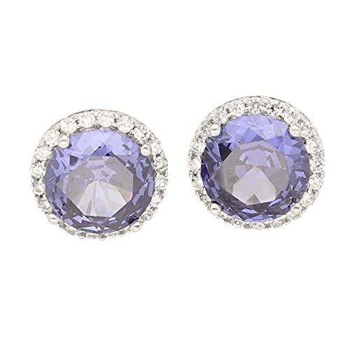 Pendientes de tuerca de plata de ley con diamantes de imitación y tanzanita (12 mm de diámetro)   El regalo perfecto para una dama especial   Jollys Jewellers