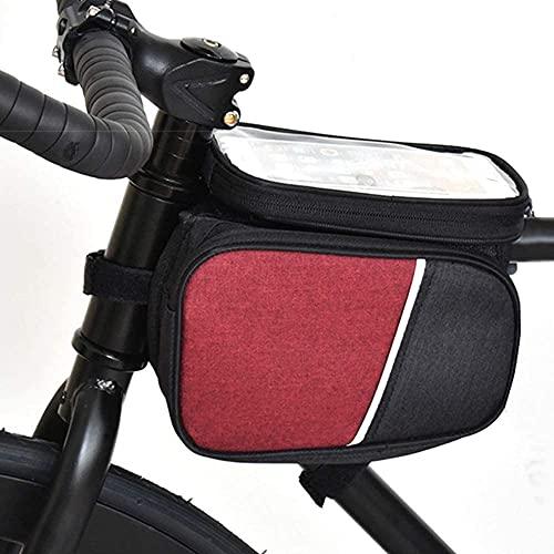 TIANYOU Portátil Gran Capacidad Bici Soporte para Teléfono Bolsa Doble Mobile Phone Holde Bolsa de Teléfono con Pantalla Táctil Bolsa de Marco de Bicicleta Bolsas para Sillines B