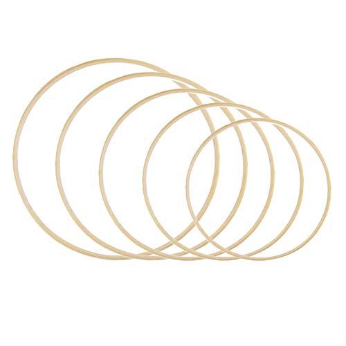 5pcsAnillos de Bambú Aros para Atrapasueños Aros para Macrame,Madera Dream Catcher Anillos Aro de bambú para Bricolaje Boda Aro y Decoración para Colgar en La Pared (9/11/13/15/17cm)