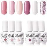 Gellen 6 Colors Gel Nail Polish Kit- Coral Peach Series Cute Pinks White Nail Polish, Popular Opaque Glitters Nail Art Designs Home Gel Manicure Set