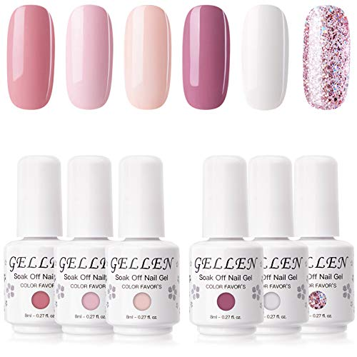 Gellen 6 Colors Gel Nail Polish Kit- Coral Peach Series Cute Pinks White Nail Polish, Popular Opaque Glitters Nail Art Designs Home Gel Manicure Set