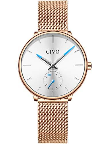 CIVO Damen Uhren Roségold Wasserdicht Designer Analoge Quarz Uhr Damen Slim Minimalistisch Damenuhr Elegant Design Armbanduhr für Damen Mädchen