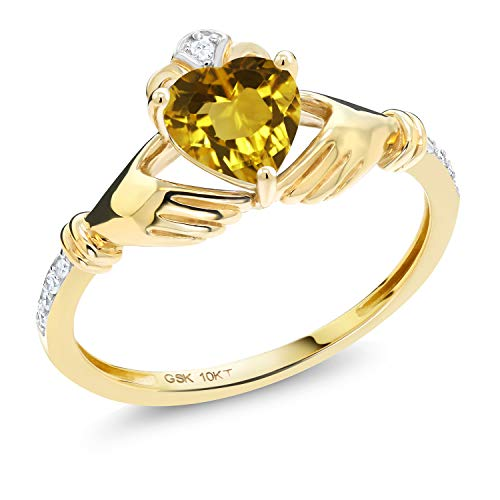 Gem Stone King 10K Yellow Gold Irish Celtic Claddagh Yellow Citrine and Diamond Accent Women Ring (0.76 Cttw, Available in size 5, 6, 7, 8, 9)