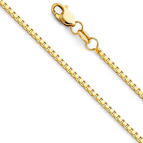 Massive 18 Karat / 750 Gold Venezianer Box Kette Gelbgold -1 mm Breit - Verschiedene Längen (50)