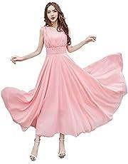 【TaoTech】 マキシ ワンピース シフォン ボヘミアン ロング ドレス ノースリーブ vネック 体型カバー ハイウエスト
