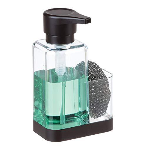 mDesign Dosificador de jabón con soporte para esponja – Dispensador de jabón de manos para fregaderos – Dispensador de jabón en espuma de plástico y recargable – transparente/negro mate
