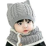 [ミャオッティ] ベビー帽 ネックウォーマー セット あったか ニット帽 耳付き 赤ちゃん 帽子 マフラー 6色 フリーサイズ SF396-R15-GL (グレー)