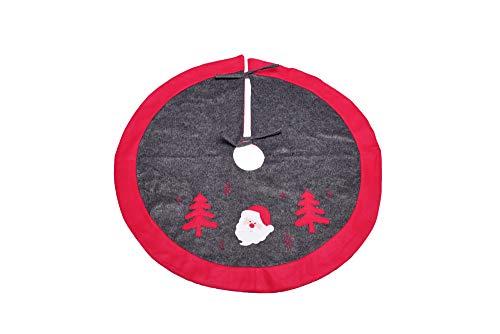Heitmann Deco runde Baumdecke mit Weihnachtsmotiv - Schutz vor Tannennadeln - Tannenbaumunterlage - Weihnachtsbaum-Decke - grau, rot, weiß