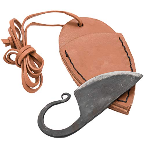 Mythrojan Celtic Ring Knife Hand Forged Necklace Knife with Tan Leather Sheath