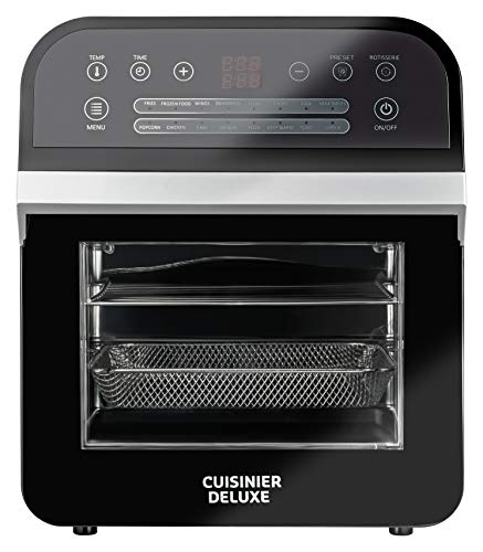 Cuisinier Deluxe Digitale heteluchtfriteuse, 12 liter, multifunctionele airfryer met draaispies, 1600 W, 16 programma's, grillen, bakken, dorren met één apparaat, incl. accessoires + ovenwanten